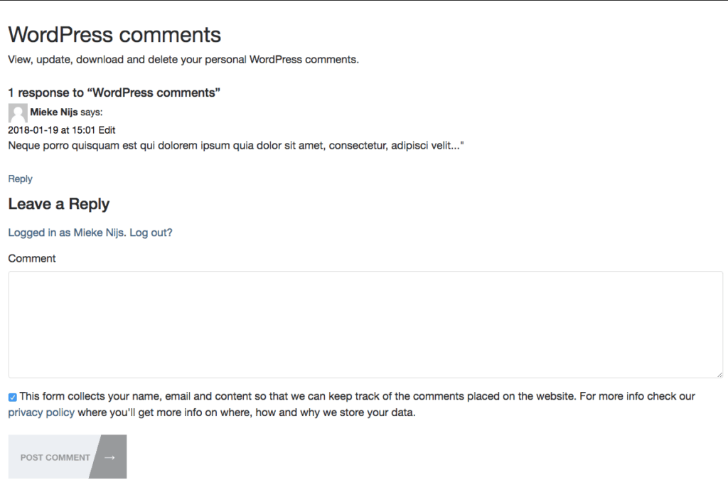 Add checkbox to commentsform
